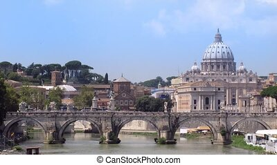 River Tiber with bridge in Vatican, Rome, Italy. Sunny day....