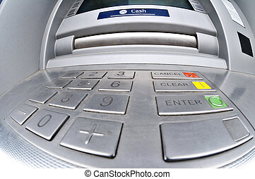 ATM or Cashpoint - A fisheye view of the cash drawer of an...