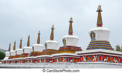 Landmarks of Tibetan stupa in a lamasery