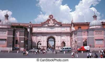 Tourists nearby Piazza del Popolo arch in Rome, Italy - ROME...