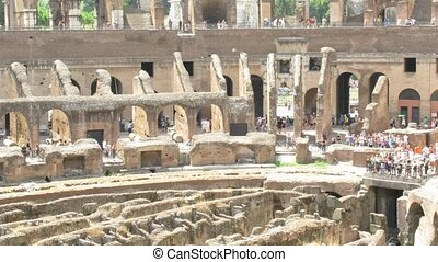 Amphitheatre of the Coliseum Rome, Italy. Sunny day, set of...