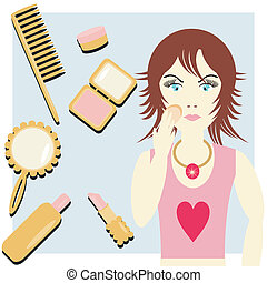 girl with cosmetics and make-up