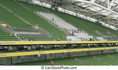 Sector with places for spectators in Dublin, Ireland. -...