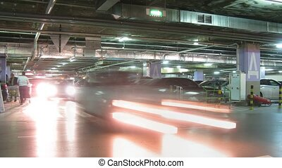Underground parking in shop in Moscow, Russia. - MOSCOW -...