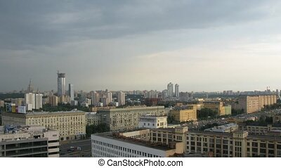 sky over Western Administrative District in Moscow, Russia -...