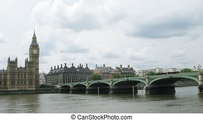 Big Ben, the bridge and the river Thames in London Time...