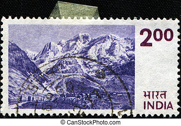 Himalayas - INDIA - CIRCA 1964: A stamp printed in India...