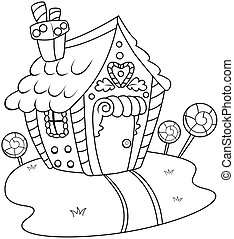 Line Art Gingerbread House - Line Art Illustration of a...