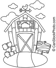 Line Art Barn House - Line Art Illustration of a Barn House...
