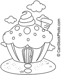 Line Art Cupcake House - Line Art Illustration of a...