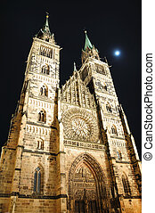 Nuremberg, Germany - StLorenz Church at Night in Nuremberg,...