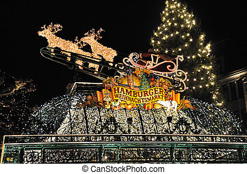 Hamburg, Germany - Christmas illuminations in Hamburg,...