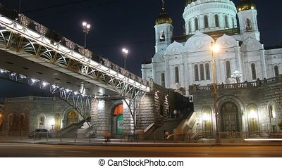 Cathedral of Christ The Saviour and bridge. Time lapse.
