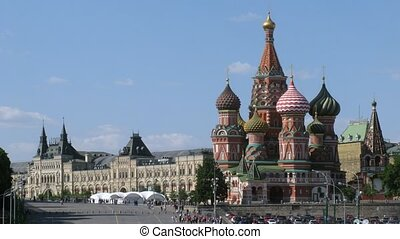 StBasils Cathedral and GUM in sunny day in Moscow, Russia -...