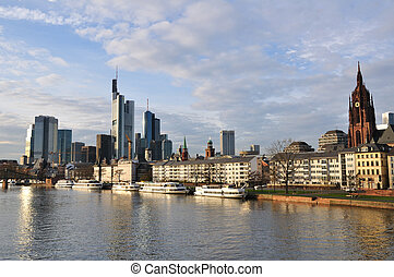 Frankfurt am Main, Germany - Skyscrapers and Main River in...