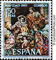 Birth of Jesus by Salzillo - SPAIN - CIRCA 1967: A stamp...
