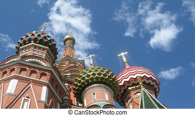 St Basils Cathedral in Red Square, Moscow. Camera passes from St. Basil's Cathedral.