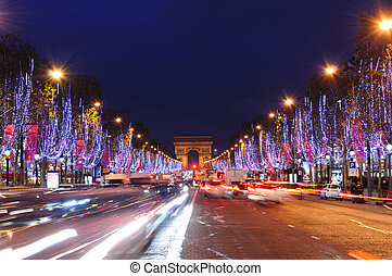 Paris, France - Illuminations at Champs Elyses in Paris,...
