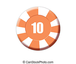 Orange roulette chip isolated on white, vector illustration