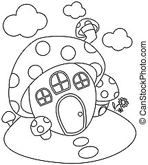 Line Art Mushroom House - Line Art Illustration of a...