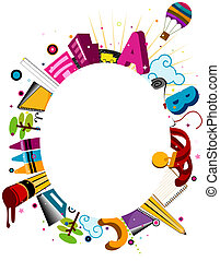 Education Frame - Illustration of a Frame Featuring Items...