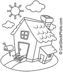 Line Art Illustration of a Small House Complete with a Sunny...