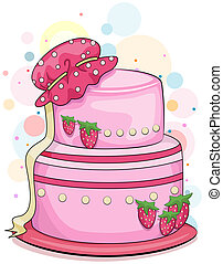 Strawberry Cake - Illustration of a Strawberry Cake with a...