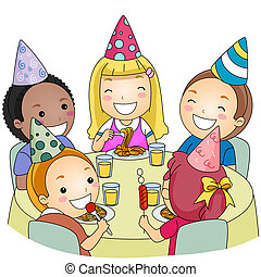Birthday Party - Illustration of a Group of Kids Eating at a...