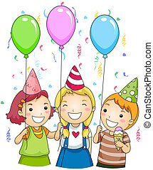 Birthday Party - Illustration of Kids Holding Colorful...