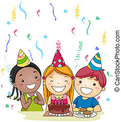 Blow the Candle - Illustration of a Birthday Celebrant About...