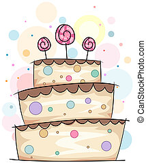 Cake Doodle - Illustration of a Layered Cake with Lollipops...