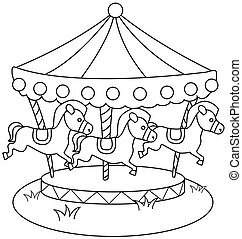 Line Art Merry Go Round - Line Art Illustration of a Merry...