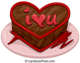 Valentine Cake - Illustration of a Chocolate Cake with a...