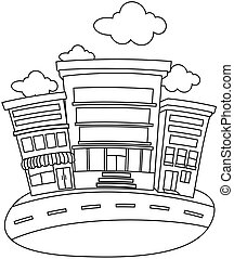 Line Art Building - Line Art Illustration of a Building...