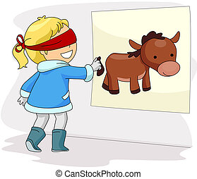 Pin the Donkey's Tail - Illustration of a Blindfolded Girl...