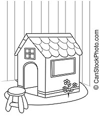 Line Art Playhouse - Line Art Illustration of a Playhouse