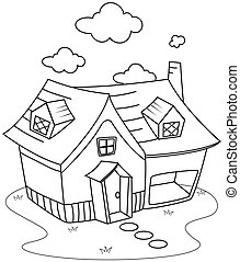 Line Art House - Line Art Illustration of a Cute Little...