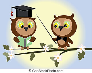 Two owls at the branch of tree