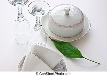 tabela, jantar, servindo