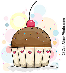 Chocolate Cupcake - Illustration of a Chocolate Cupcake with...