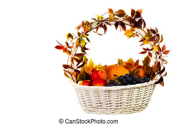 Autumn's basket - fall cornucopia isolated on white
