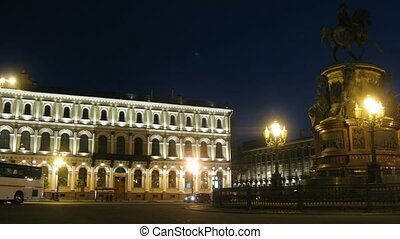 The review of a night city in Sankt-Petersburg, Russia. -...