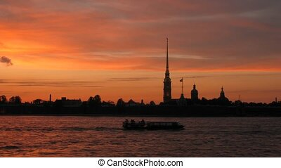 The Peter and Paul Fortress, the river Neva with steamships....