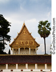 Golden Triangle of Buddhist Temple - Golden triangular end...