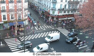 Brisk crossroads in Paris, France, the top view.