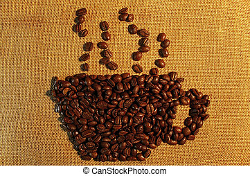 Coffee beans cup 03 - Coffee beans draw a smoking hot coffee...