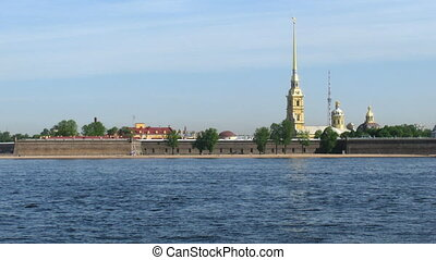 The review of coast of Neva with a view on beautiful buildings