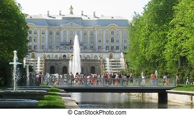 Bridges and fountains of Peterhof Palace in StPetersburg,...