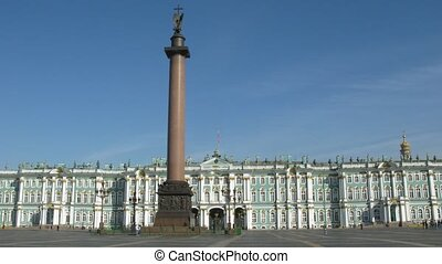 Aleksandriskiy Column and Winter Palace in St. Petersburg,...