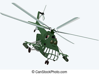 Helicopter - Military aircraft Military helicopter on a blue...